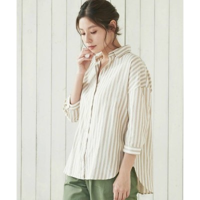 リネン混 スキッパー衿 七分袖シャツ