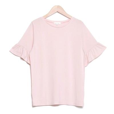 サルース salus フリル袖シンプルTシャツ (T0B(ピンク))