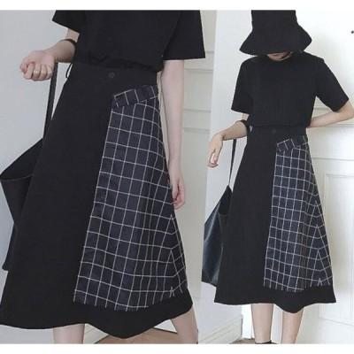スカート ひざ丈スカート 巻きスカート Aライン ナチュラルシルエット フレア 台形 ポリエステル 送料無料