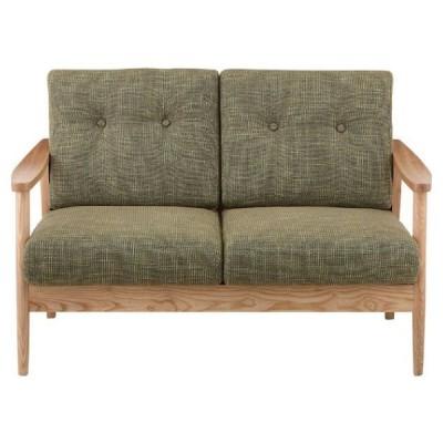ソファ 椅子 バッスム グリーン 緑 おしゃれ 2人掛け 北欧 木製 肘付き リビング RTO-921GR / 東谷