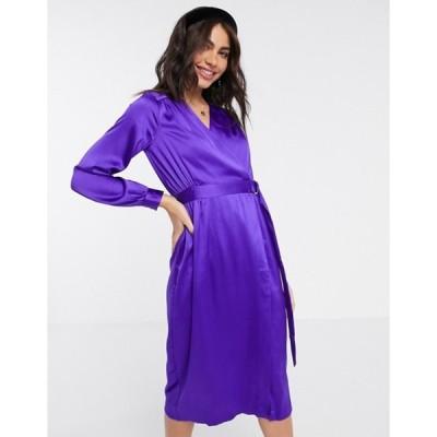 クローゼットロンドン レディース ワンピース トップス Closet London satin wrap dress in purple