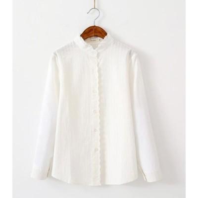 シャツ レディース 白 シャツ 長袖 シャツ ブラウス フリル襟 ホワイト レース 立ち襟 シャツ 送料無料