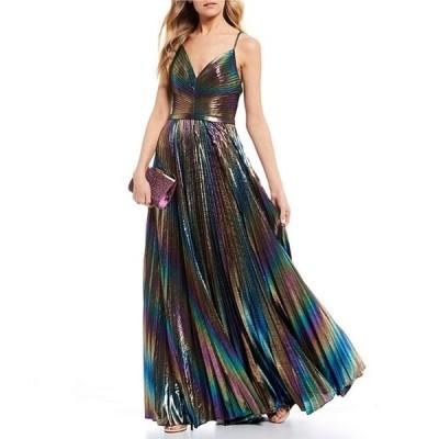 ジービー レディース ワンピース トップス Social Iridescent Pleated Long Dress