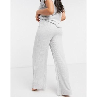 チェルシーピア レディース カジュアルパンツ ボトムス Chelsea Peers eco soft jersey rib lounge wide leg pant in gray Gray heather