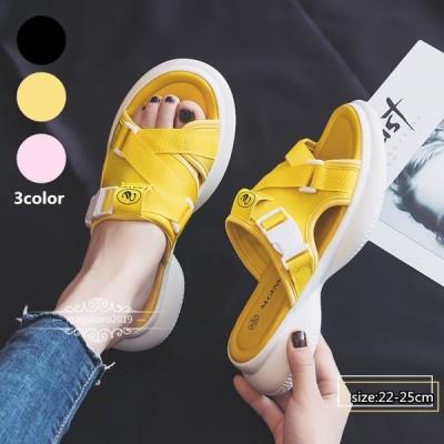 サンダル レディース シンプル フラットシューズ 靴 涼しげ 柔軟 上履き心地よい 女性用 オシャレ 韓国風