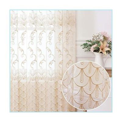 新品Jiyoyo Embroidered Lace Sheer Curtain for Living Room Bedroom,Rod Pocket Flower Voile Drapes/Panels, (Beige with Silver Threading Embr