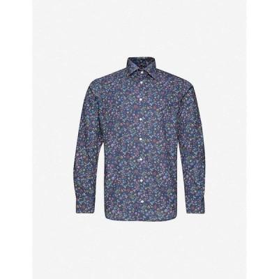 イートン ETON メンズ シャツ トップス Floral-print contemporary-fit cotton-twillshirt Blue