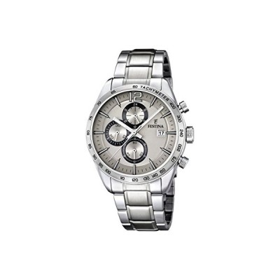 Festina Men's Quartz Watch with Beige Dial Chronograph Display and Silver Stainless Steel Bracelet F16759/2 並行輸入品