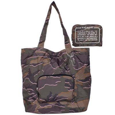 COACH軍綠粉邊迷彩紋尼龍折疊收納環保肩背托特包