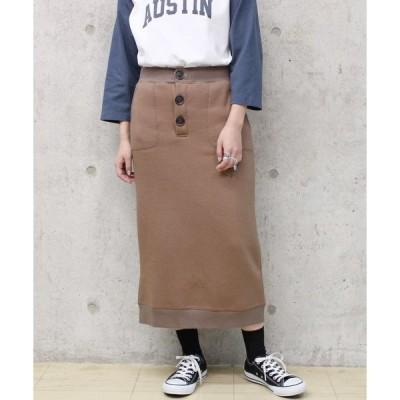 スカート Factor= リブ使い裏起毛タイトスカート