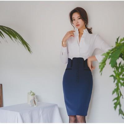新作 秋冬 大人デザイン ハイウエスト ボタンダウン タイトスカート 2color レディース