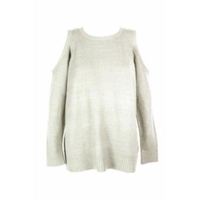 kensie ケンジー ファッション トップス Kensie Ivory Cold-Shoulder Crew Neck Sweater L