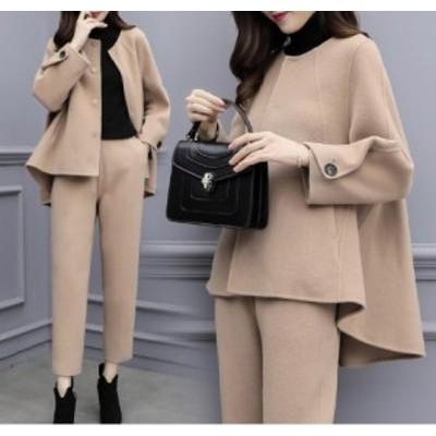 2色 パンツスーツ レディースセットアップ  フォーマル セレモニースーツ 厚手 大きいサイズ 通勤 入学式 ゆったり 暖かい