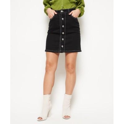 SPIRALGIRL / バイカラーステッチミニスカート WOMEN スカート > デニムスカート