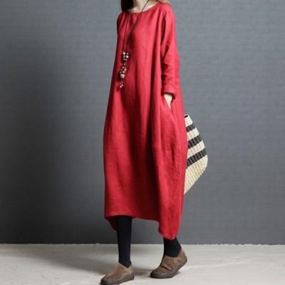 新しいレデイーズ  ワンピース ドレス ゆったり 大きいサイズ 綿麻 長袖 ラウンドネックワンピース