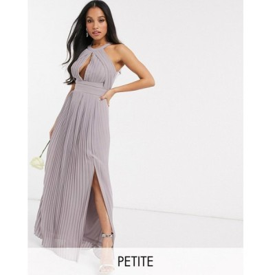 ティーエフエヌシー マキシドレス レディース TFNC Petite bridesmaid exclusive pleated maxi dress in grey エイソス ASOS グレー 灰色