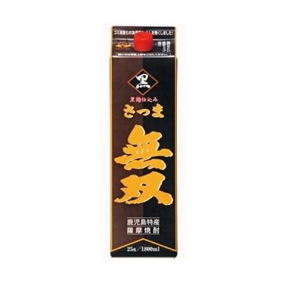 さつま無双 黒ラベル 芋焼酎 鹿児島 25% 1800ml 紙パック