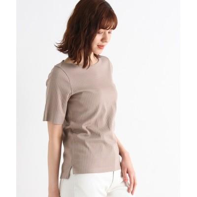 grove / スーピマ綿リブ5分袖プルオーバー WOMEN トップス > Tシャツ/カットソー