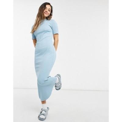ウィークデイ レディース ワンピース トップス Weekday Vera organic cotton ribbed midi dress in blue