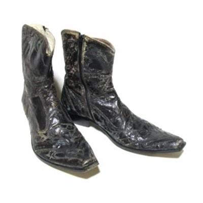 Jo Ghost ジョーゴースト「41」イタリア製 クラックレザーブーツ (黒 ブラック 皮 革 靴) 118243 【中古】