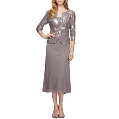 アレックスイブニングス レディース ワンピース トップス Petite Sequined 2-Piece Jacket Dress