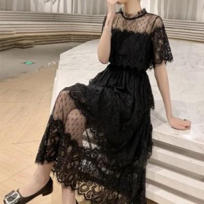 パーティードレス 総レース シースルー ドレス ワンピース 結婚式 お呼ばれ 大きいサイズ 袖あり 半袖 ミモレ丈 フォーマル 韓国 黒