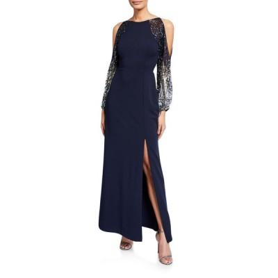 アイダンマットックス レディース ワンピース トップス Beaded Split-Sleeve Crepe Column Gown