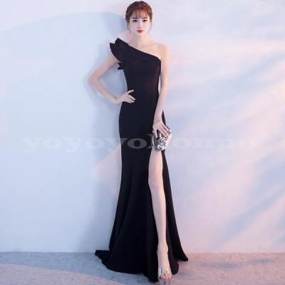 ポイント10倍イブニングドレス黒イブニングドレス50代40代30代パーティードレスロングワンショルダースリット二次会ドレス