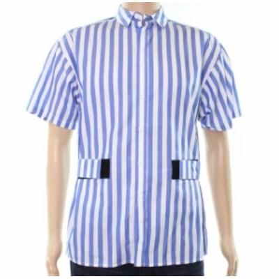 ファッション アウター Laboratory NEW Blue Mens Size Small S Striped Button Down Shirt