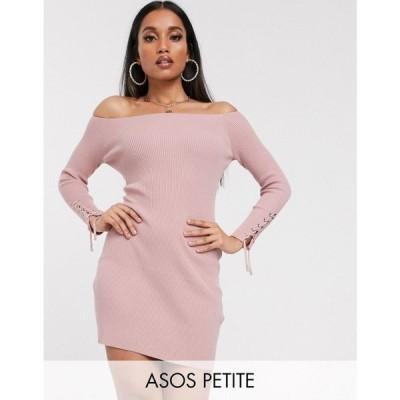 エイソス ASOS Petite レディース ワンピース レースアップ ミニ丈 ワンピース・ドレス ASOS DESIGN Petite bardot knit mini dress with lace up cuff detail