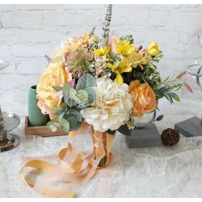 送料無料ウエディングブーケ 安い 結婚式 花嫁 ブーケ 造花 花束 欧米風 ブライダルブーケ ウェディング アレンジメント アートフラワー インテリアフラ