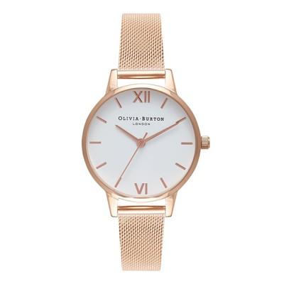 腕時計 オリビアバートン/OLIVIA BURTON 日本公式 ホワイト ミディダイヤル メッシュ 腕時計