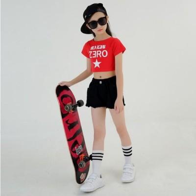 2点セット 社交ダンス 半袖 ダンス衣装 Tシャツ 男の子 女の子 hiphop 長袖  キッズダンス ラテンダンス 衣装 ヒップホップパンツ  キッズ アップ  福袋