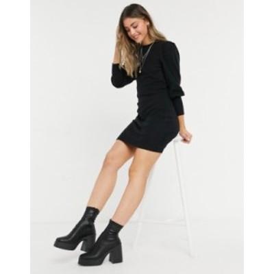 エイソス レディース ワンピース トップス ASOS DESIGN super soft puff sleeve mini dress in black Black
