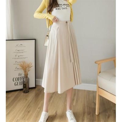 ファッションブログ主が好きな商品 韓国ファッション 怠惰な風 肌にやさしい エレガント 2021年春夏 新作 韓国版 おしゃれな スカート 伸縮性ウエスト ロングスカート 百掛け ピュアカラー
