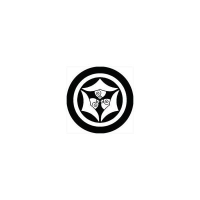 家紋シール 中輪に嘴合わせ三つ雁金紋 直径10cm 丸型 白紋 2枚セット KS10M-2357W