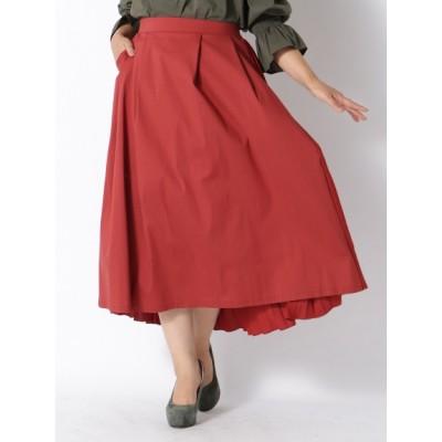 【大きいサイズ】【LL-3L】ゆったりサイズ!後身プリーツスカート 大きいサイズ スカート レディース