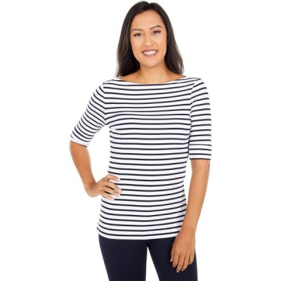 ラルフ ローレン LAUREN Ralph Lauren レディース トップス Striped Cotton Blend Top White/Lauren Navy