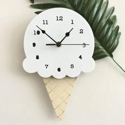 掛け時計 時計 ウォールクロック 北欧 雑貨 木 木製 アイス アイスクリーム レトロ ポップ 子供部屋 パステルカラー かわいい おしゃれ