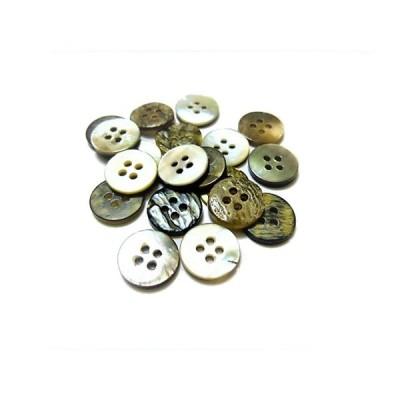 ボタン 手芸 素材 黒蝶貝 チャコ−ル グレー色系 約13mm 4穴 貝ボタン 14個入り