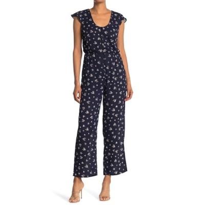 コレクティブコンセプツ レディース ワンピース トップス Scoop Neck Short Sleeve Floral Print Straight Leg Jumpsuit NAVY MULTI FLORAL
