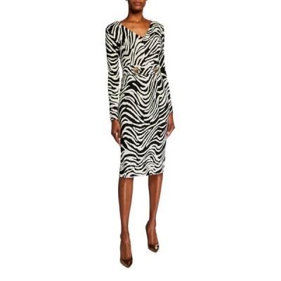 エスカーダ レディース ワンピース トップス Dorgia Zebra-Print Belted Dress