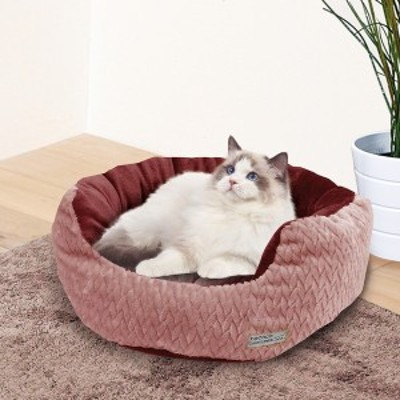 ペティオ 猫 ベッド necoco ネココ クッション付 ふんわりあったか包み込みベッド スモーキーローズ ポリエステル Petio