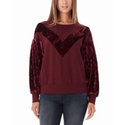hannah ハンナ ファッション トップス Wlliam Rast Womens Sweatshirt Maroon Red Size Large L Hannah Velevt-Trim