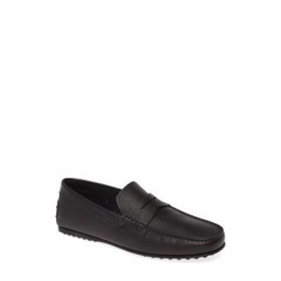トッズ TOD'S メンズ ドライビングシューズ シューズ・靴 'City' Penny Driving Shoe Black Textured Leather