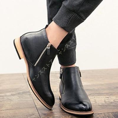 ワークブーツ ショートブーツ メンズ ドレープブーツ PUレザー 靴 ブーツ カジュアル チェルシーブーツ 黒 ブラック チェルシーブーツ 合成皮革 スムース
