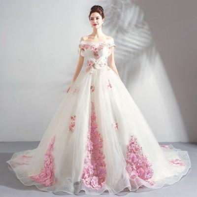 ウエディングドレス 素敵な トレーンタイプ ブライダルドレス 花嫁ドレス オシャレ プリンセスドレス レディース 演奏会ドレス 上品な 写真撮影
