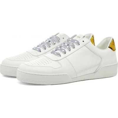ヴェルサーチ Versace メンズ スニーカー シューズ・靴 gold heel tab tennis sneaker White/Gold