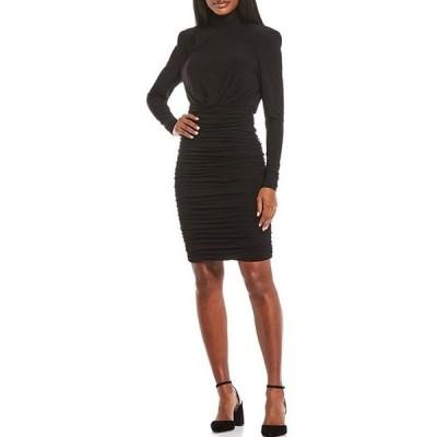 エリザジェイ レディース ワンピース トップス Mock Neck Ruched Jersey Dress