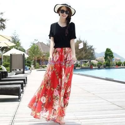 スカート フレアスカート ロング ロングフレアスカート フレアスカート大きいサイズ フレアスカート春 夏 花柄 ロングスカートマキシ